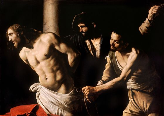 Caravaggio, Michelangelo Merisi da: Christ at the Column. Fine Art Print/Poster. Sizes: A4/A3/A2/A1 (00116)